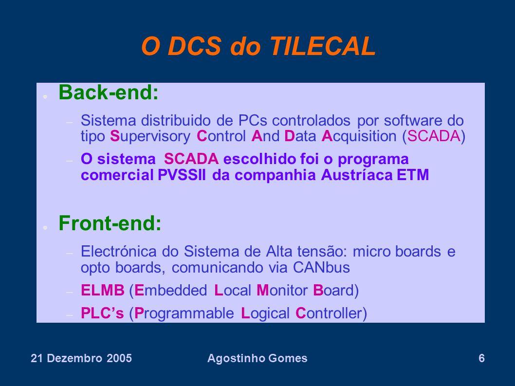 21 Dezembro 2005Agostinho Gomes6 O DCS do TILECAL Back-end: – Sistema distribuido de PCs controlados por software do tipo Supervisory Control And Data