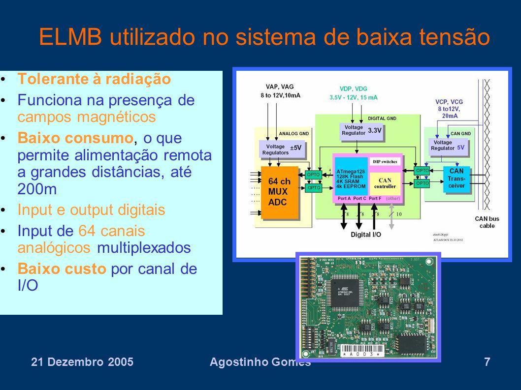 21 Dezembro 2005Agostinho Gomes7 ELMB utilizado no sistema de baixa tensão Tolerante à radiação Funciona na presença de campos magnéticos Baixo consum