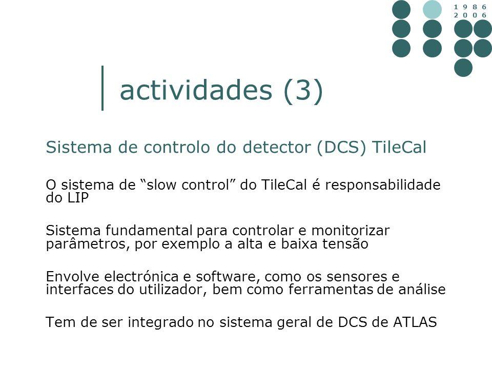 1 9 8 6 2 0 0 6 actividades (3) Sistema de controlo do detector (DCS) TileCal O sistema de slow control do TileCal é responsabilidade do LIP Sistema f