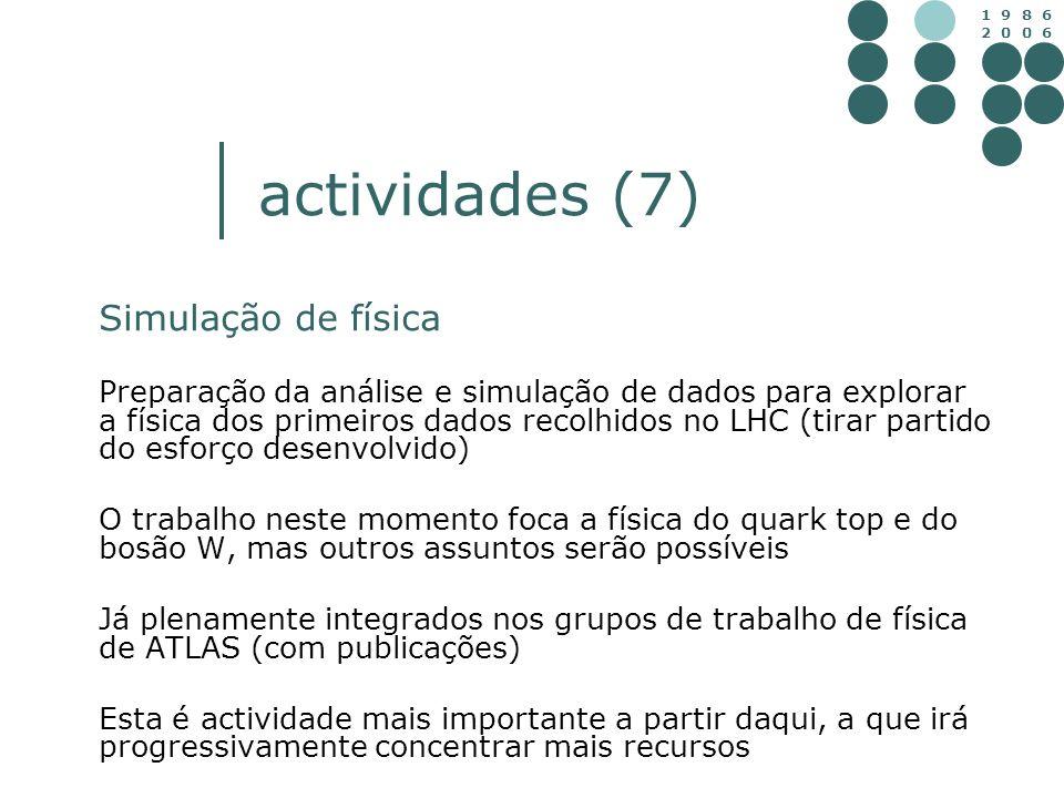 1 9 8 6 2 0 0 6 actividades (7) Simulação de física Preparação da análise e simulação de dados para explorar a física dos primeiros dados recolhidos n