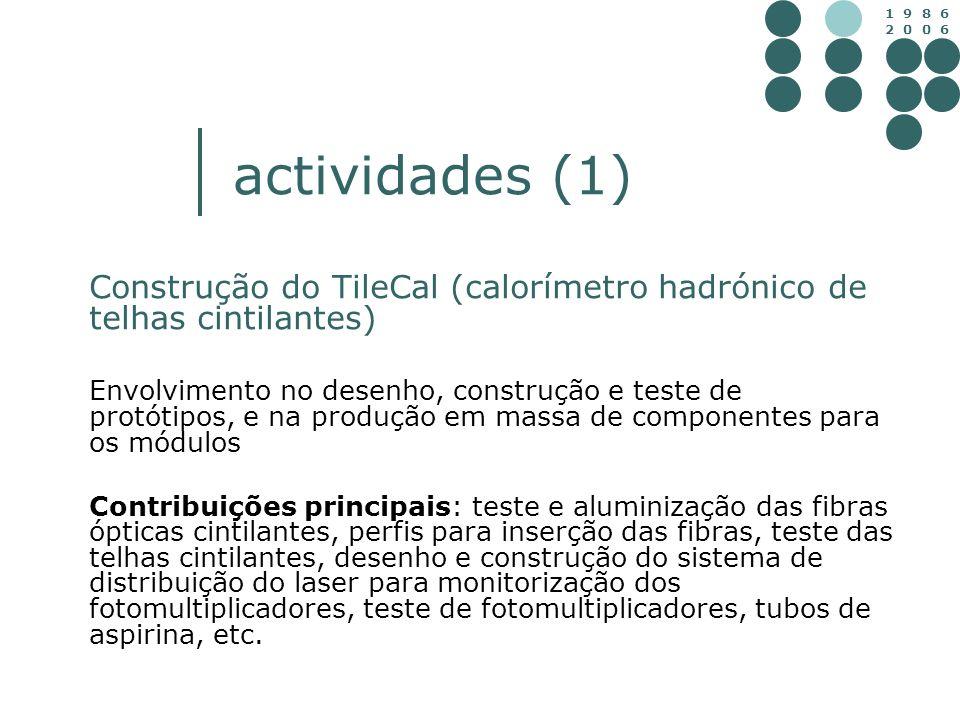 1 9 8 6 2 0 0 6 actividades (1) Construção do TileCal (calorímetro hadrónico de telhas cintilantes) Envolvimento no desenho, construção e teste de pro