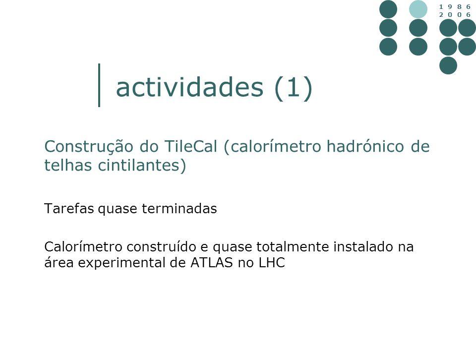 1 9 8 6 2 0 0 6 actividades (1) Construção do TileCal (calorímetro hadrónico de telhas cintilantes) Tarefas quase terminadas Calorímetro construído e
