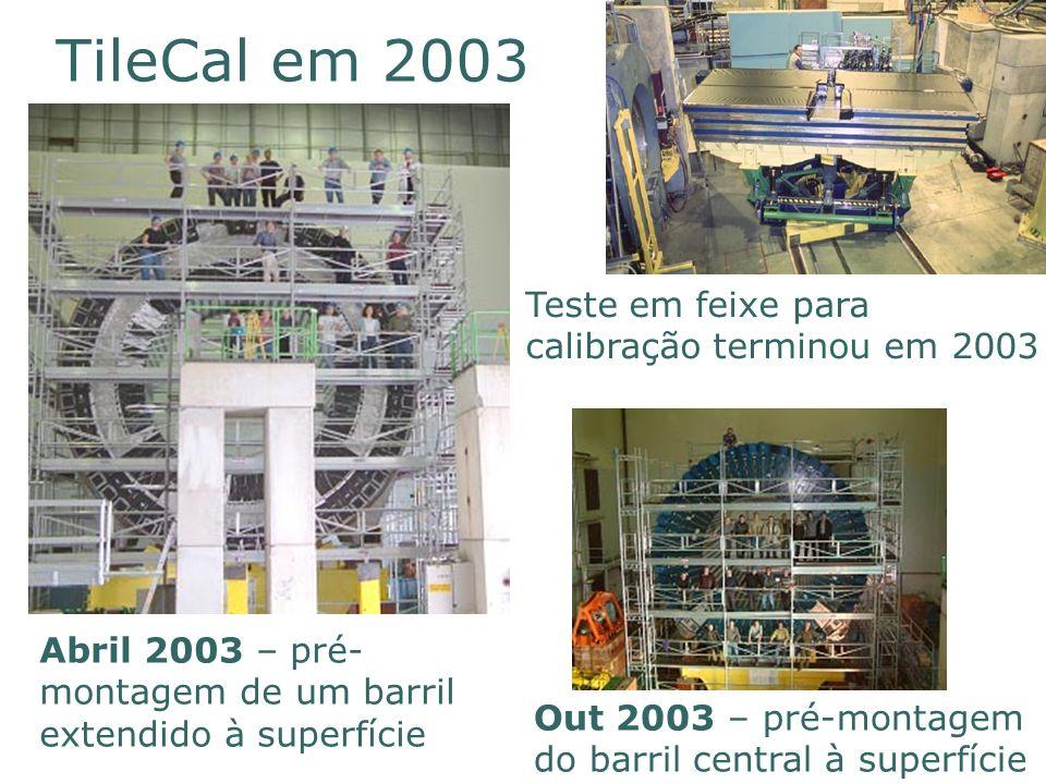 1 9 8 6 2 0 0 6 TileCal em 2003 Abril 2003 – pré- montagem de um barril extendido à superfície Out 2003 – pré-montagem do barril central à superfície