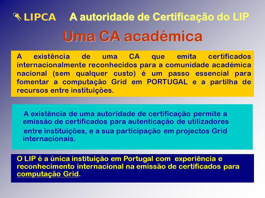 A autoridade de Certificação do LIP Uma CA académica A existência de uma CA que emita certificados internacionalmente reconhecidos para a comunidade académica nacional (sem qualquer custo) é um passo essencial para fomentar a computação Grid em PORTUGAL e a partilha de recursos entre instituições.
