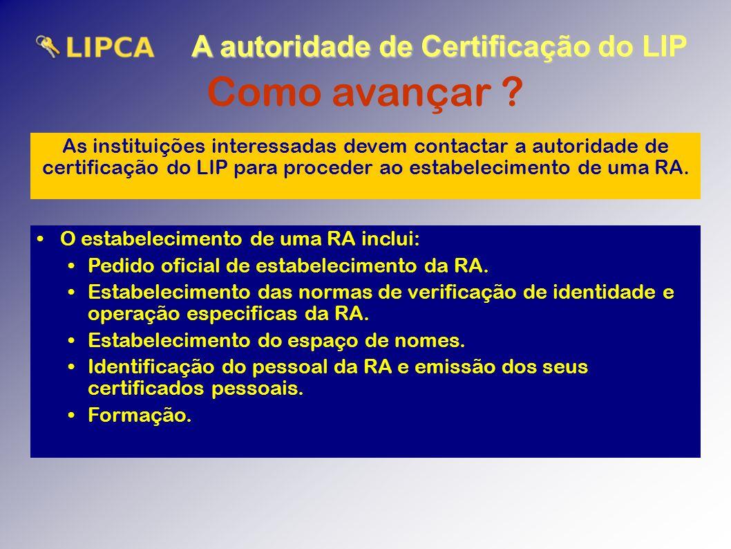 A autoridade de Certificação do LIP Como avançar .