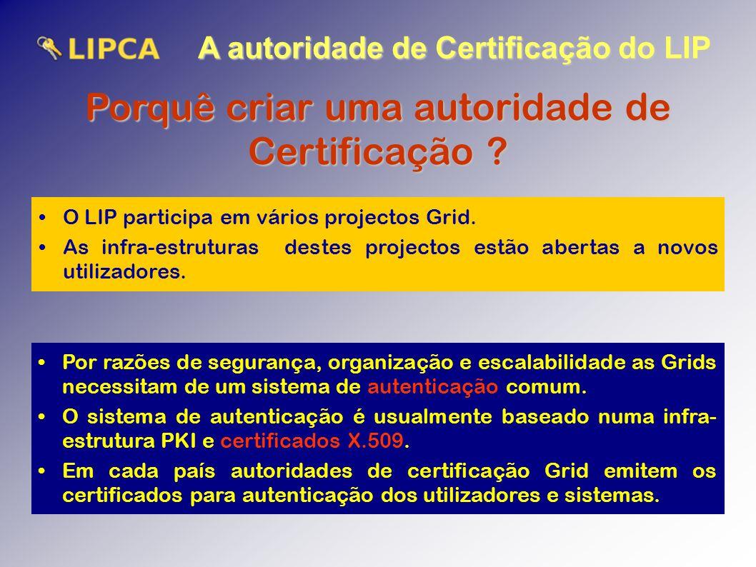 A autoridade de Certificação do LIP Porquê criar uma autoridade de Certificação .