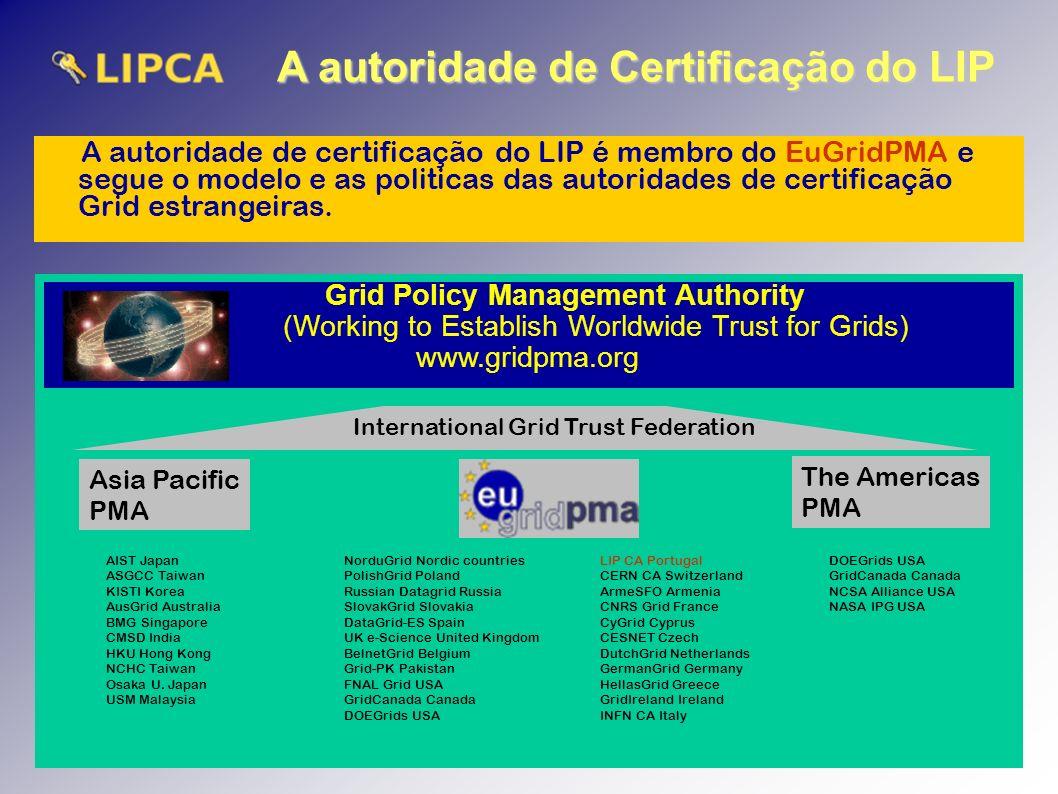 A autoridade de Certificação do LIP A autoridade de certificação do LIP é membro do EuGridPMA e segue o modelo e as politicas das autoridades de certificação Grid estrangeiras.