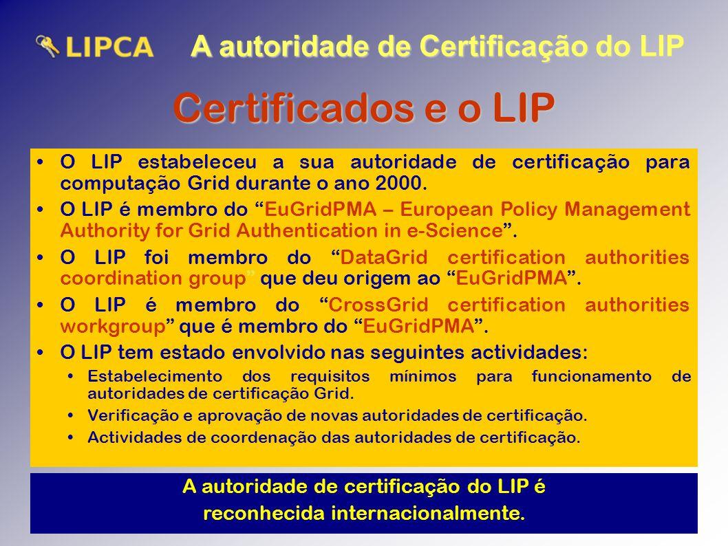 A autoridade de Certificação do LIP Certificados e o LIP O LIP estabeleceu a sua autoridade de certificação para computação Grid durante o ano 2000.