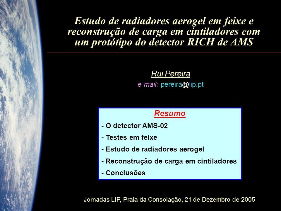Jornadas LIP, Praia da Consolação, 21 de Dezembro de 2005 Estudo de radiadores aerogel em feixe e reconstrução de carga em cintiladores com um protótipo do detector RICH de AMS Rui Pereira e-mail: pereira@lip.pt Resumo - O detector AMS-02 - Testes em feixe - Estudo de radiadores aerogel - Reconstrução de carga em cintiladores - Conclusões