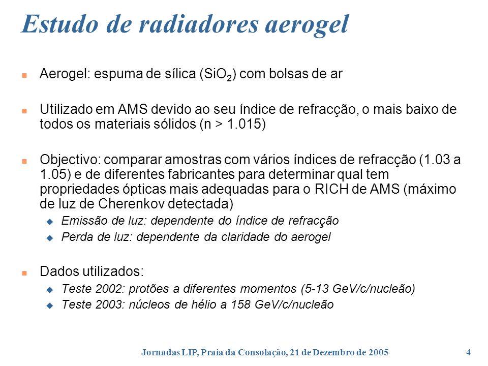 Jornadas LIP, Praia da Consolação, 21 de Dezembro de 20054 Estudo de radiadores aerogel Aerogel: espuma de sílica (SiO 2 ) com bolsas de ar Utilizado em AMS devido ao seu índice de refracção, o mais baixo de todos os materiais sólidos (n > 1.015) Objectivo: comparar amostras com vários índices de refracção (1.03 a 1.05) e de diferentes fabricantes para determinar qual tem propriedades ópticas mais adequadas para o RICH de AMS (máximo de luz de Cherenkov detectada) Emissão de luz: dependente do índice de refracção Perda de luz: dependente da claridade do aerogel Dados utilizados: Teste 2002: protões a diferentes momentos (5-13 GeV/c/nucleão) Teste 2003: núcleos de hélio a 158 GeV/c/nucleão