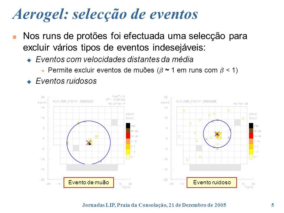 Jornadas LIP, Praia da Consolação, 21 de Dezembro de 20055 Aerogel: selecção de eventos Nos runs de protões foi efectuada uma selecção para excluir vários tipos de eventos indesejáveis: Eventos com velocidades distantes da média Permite excluir eventos de muões ( 1 em runs com < 1) Eventos ruidosos Evento de muãoEvento ruidoso