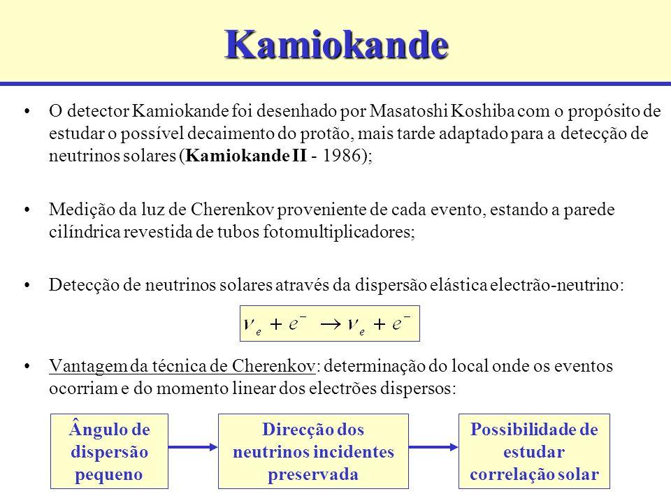 Kamiokande O detector Kamiokande foi desenhado por Masatoshi Koshiba com o propósito de estudar o possível decaimento do protão, mais tarde adaptado para a detecção de neutrinos solares (Kamiokande II - 1986); Medição da luz de Cherenkov proveniente de cada evento, estando a parede cilíndrica revestida de tubos fotomultiplicadores; Detecção de neutrinos solares através da dispersão elástica electrão-neutrino: Vantagem da técnica de Cherenkov: determinação do local onde os eventos ocorriam e do momento linear dos electrões dispersos: Ângulo de dispersão pequeno Direcção dos neutrinos incidentes preservada Possibilidade de estudar correlação solar