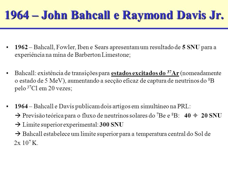 1964 – John Bahcall e Raymond Davis Jr. 1962 – Bahcall, Fowler, Iben e Sears apresentam um resultado de 5 SNU para a experiência na mina de Barberton