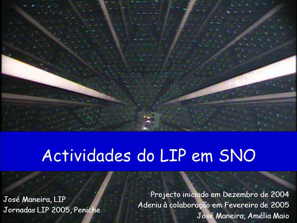 Actividades do LIP em SNO José Maneira, LIP Jornadas LIP 2005, Peniche Projecto iniciado em Dezembro de 2004 Aderiu à colaboração em Fevereiro de 2005