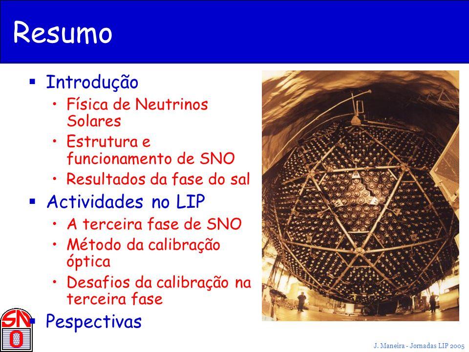 J. Maneira - Jornadas LIP 2005 Resumo Introdução Física de Neutrinos Solares Estrutura e funcionamento de SNO Resultados da fase do sal Actividades no