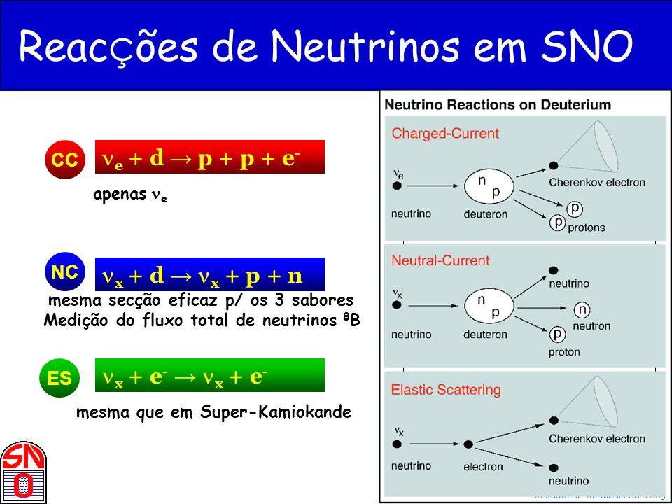 J. Maneira - Jornadas LIP 2005 Reac ç ões de Neutrinos em SNO NC ES apenas e CC e + d p + p + e - x + d x + p + n x + e - x + e - mesma secção eficaz