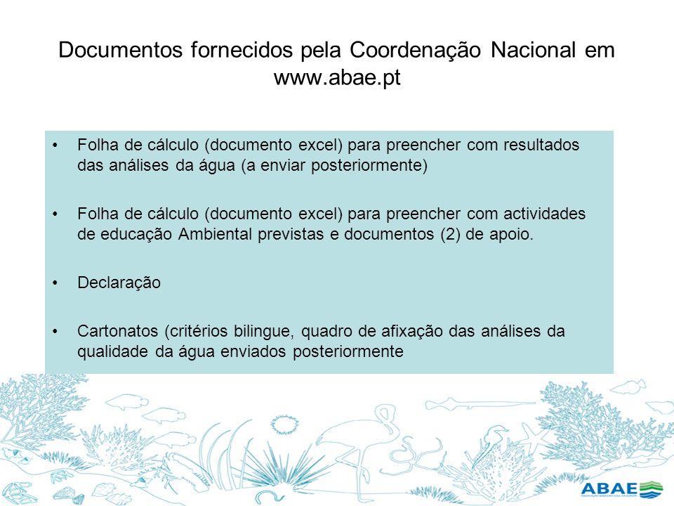 Documentos fornecidos pela Coordenação Nacional em www.abae.pt Folha de cálculo (documento excel) para preencher com resultados das análises da água (