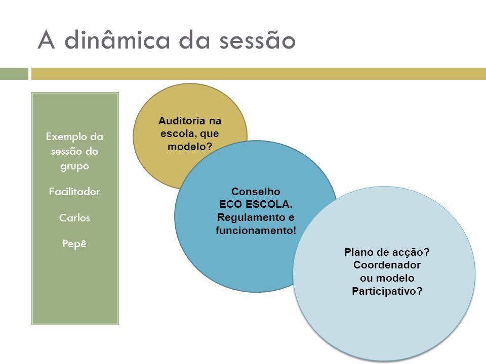 Exemplo da sessão do grupo Facilitador Carlos Pepê A dinâmica da sessão Auditoria na escola, que modelo? Plano de acção? Coordenador ou modelo Partici