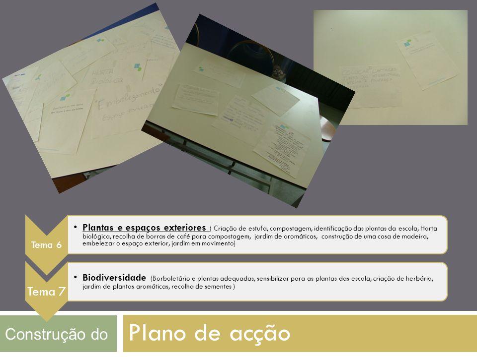 Plano de acção Construção do Tema 6 Plantas e espaços exteriores ( Criação de estufa, compostagem, identificação das plantas da escola, Horta biológic