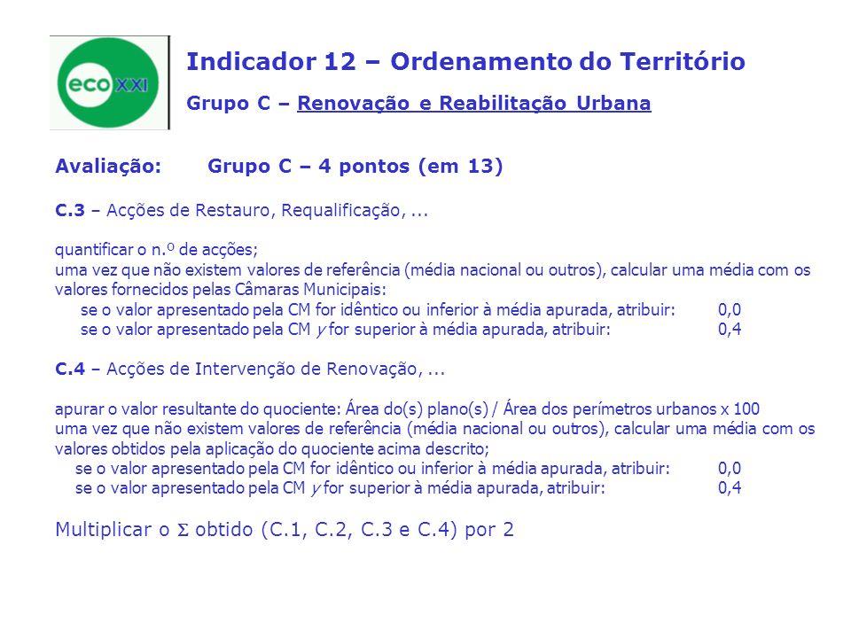 Indicador 12 – Ordenamento do Território Grupo C – Renovação e Reabilitação Urbana Avaliação:Grupo C – 4 pontos (em 13) C.3 – Acções de Restauro, Requalificação,...
