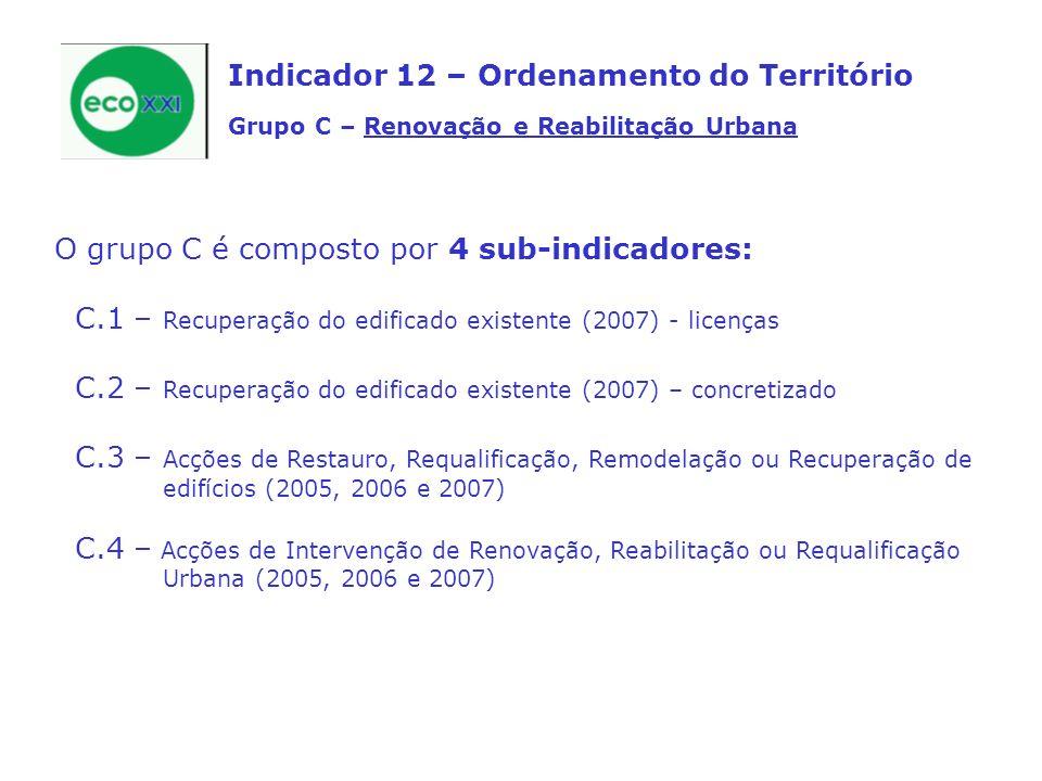 Indicador 12 – Ordenamento do Território Grupo C – Renovação e Reabilitação Urbana O grupo C é composto por 4 sub-indicadores: C.1 – Recuperação do edificado existente (2007) - licenças C.2 – Recuperação do edificado existente (2007) – concretizado C.3 – Acções de Restauro, Requalificação, Remodelação ou Recuperação de edifícios (2005, 2006 e 2007) C.4 – Acções de Intervenção de Renovação, Reabilitação ou Requalificação Urbana (2005, 2006 e 2007)
