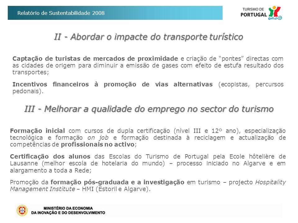 Relatório de Sustentabilidade 2008 II - Abordar o impacte do transporte turístico Captação de turistas de mercados de proximidade e criação de pontes