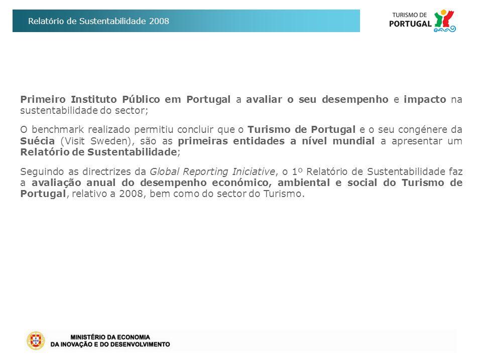 Relatório de Sustentabilidade 2008 Primeiro Instituto Público em Portugal a avaliar o seu desempenho e impacto na sustentabilidade do sector; O benchm