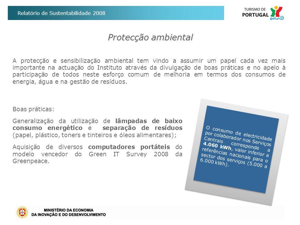 Relatório de Sustentabilidade 2008 Protecção ambiental Boas práticas: Generalização da utilização de lâmpadas de baixo consumo energético e separação