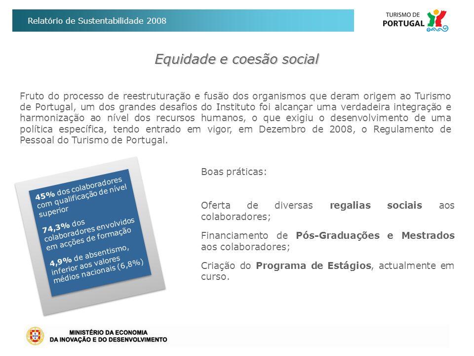 Relatório de Sustentabilidade 2008 Equidade e coesão social Boas práticas: Oferta de diversas regalias sociais aos colaboradores; Financiamento de Pós