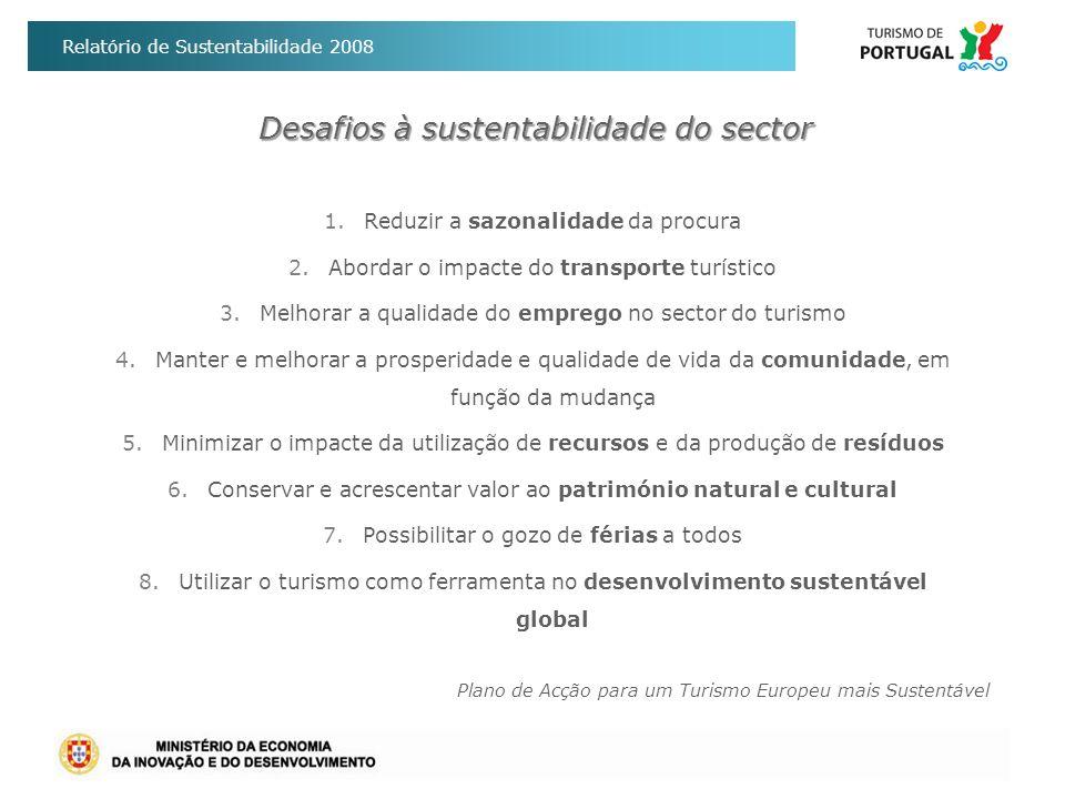 Relatório de Sustentabilidade 2008 I - Reduzir a Sazonalidade da Procura Prioridade na concessão de incentivos a projectos de investimento que contribuam para o equilíbrio da procura ao longo de todo o ano; Reforço da acessibilidade aérea: planos de marketing de apoio à dinamização de ligações aéreas directas aos principais mercados emissores (programa iniciativa:pt); Aposta em Produtos Turísticos: Golfe, City Breaks, Turismo Negócios, Touring Cultural e Paisagístico, eventos e animação.