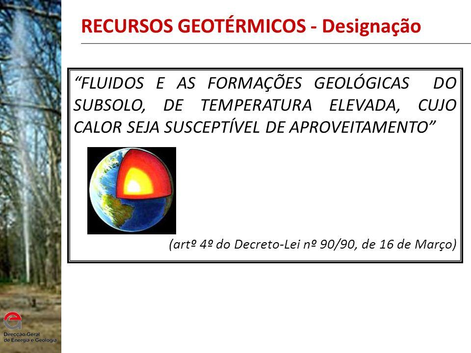 RECURSOS GEOTÉRMICOS - Designação FLUIDOS E AS FORMAÇÕES GEOLÓGICAS DO SUBSOLO, DE TEMPERATURA ELEVADA, CUJO CALOR SEJA SUSCEPTÍVEL DE APROVEITAMENTO