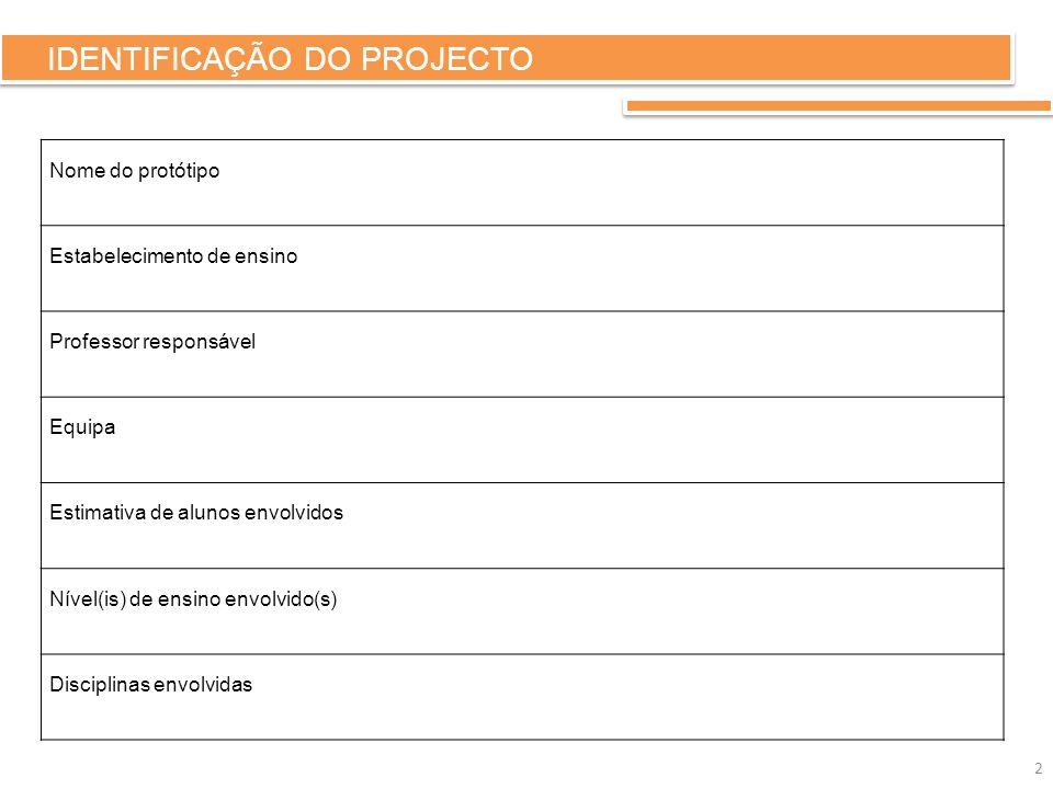IDENTIFICAÇÃO DO PROJECTO Nome do protótipo Estabelecimento de ensino Professor responsável Equipa Estimativa de alunos envolvidos Nível(is) de ensino