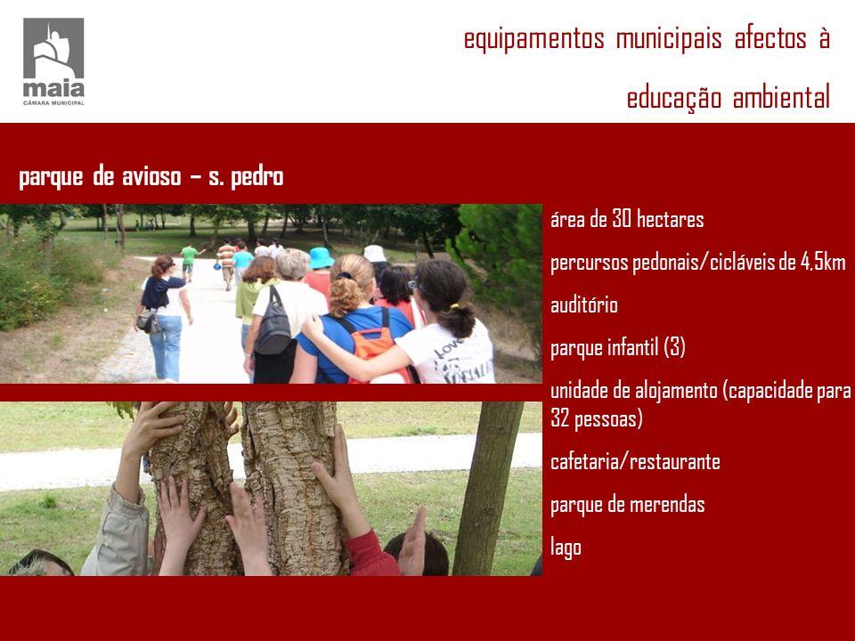 equipamentos municipais afectos à educação ambiental parque de avioso – s. pedro área de 30 hectares percursos pedonais/cicláveis de 4,5km auditório p