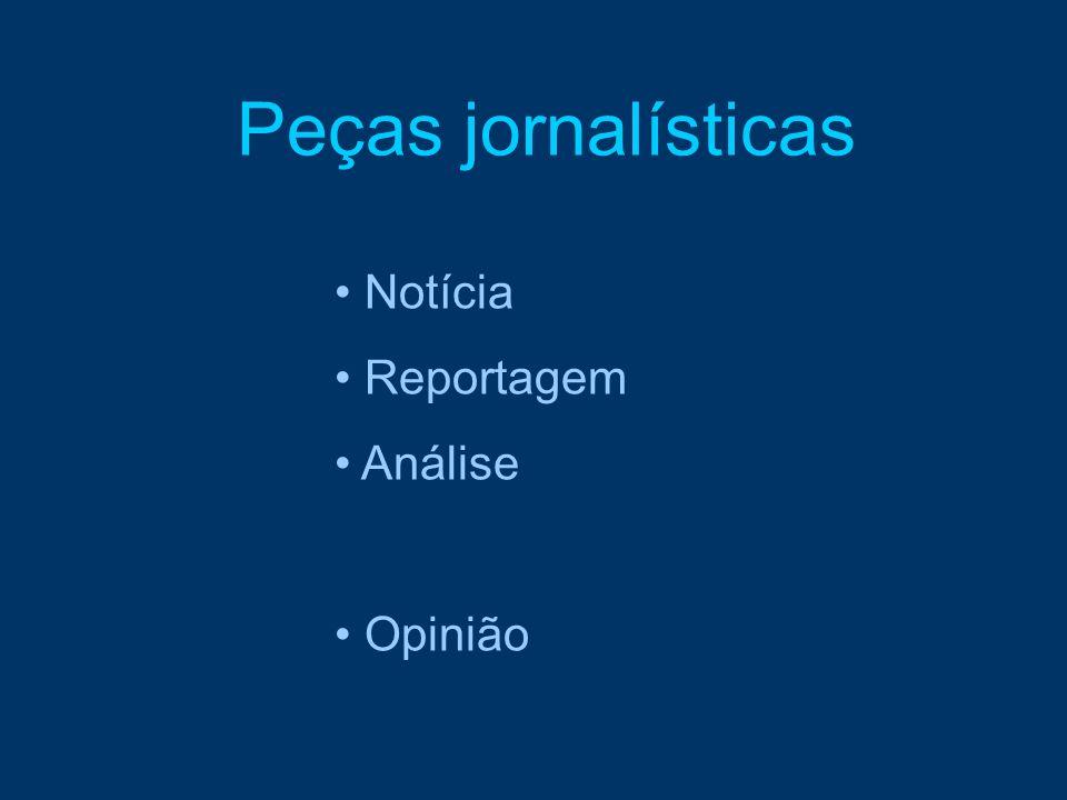 Peças jornalísticas Notícia Reportagem Análise Opinião