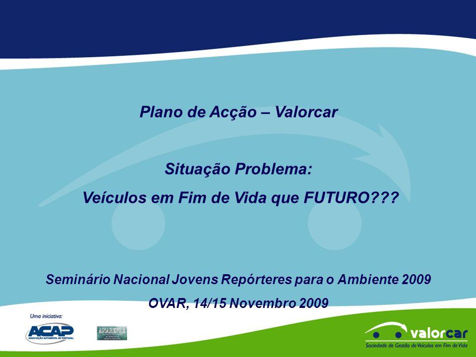 Plano de Acção – Valorcar Situação Problema: Veículos em Fim de Vida que FUTURO .