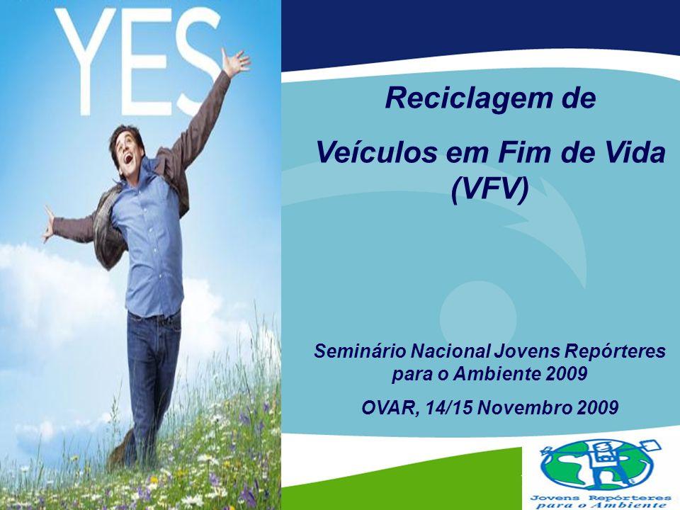 Reciclagem de Veículos em Fim de Vida (VFV) Seminário Nacional Jovens Repórteres para o Ambiente 2009 OVAR, 14/15 Novembro 2009