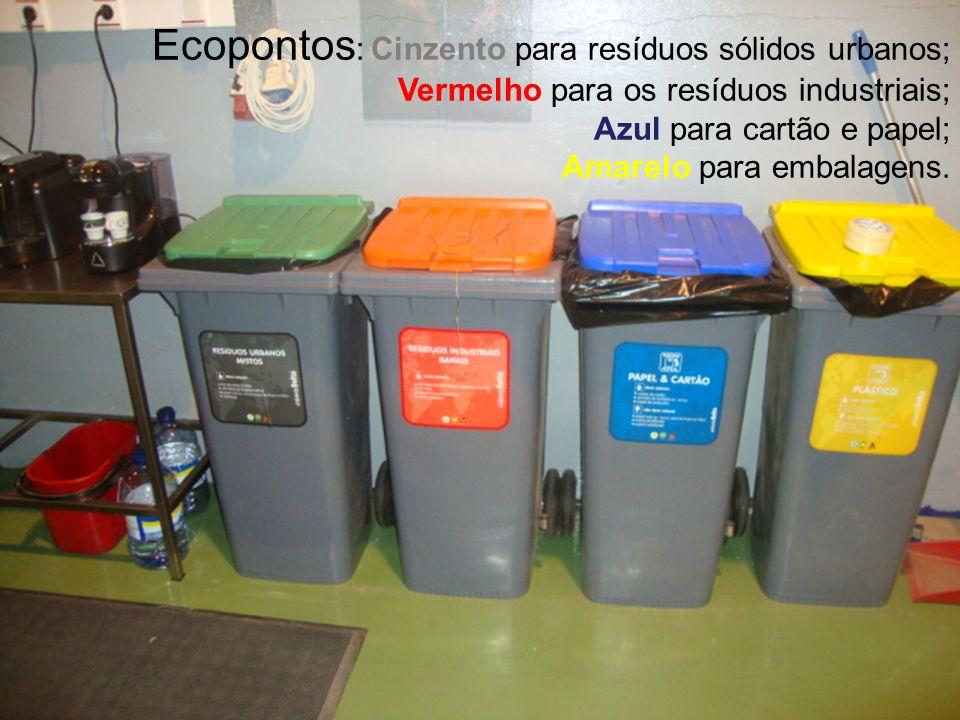 Ecopontos : Cinzento para resíduos sólidos urbanos; Vermelho para os resíduos industriais; Azul para cartão e papel; Amarelo para embalagens.