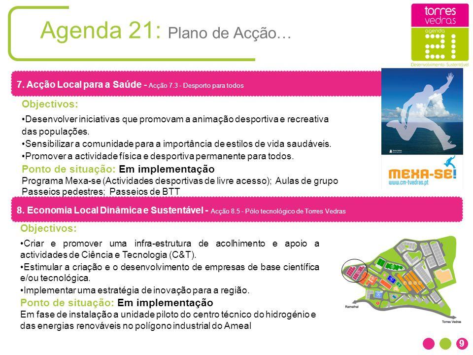 Agenda 21: Plano de Acção… 9 8. Economia Local Dinâmica e Sustentável - Acção 8.5 - Pólo tecnológico de Torres Vedras Objectivos: Criar e promover uma