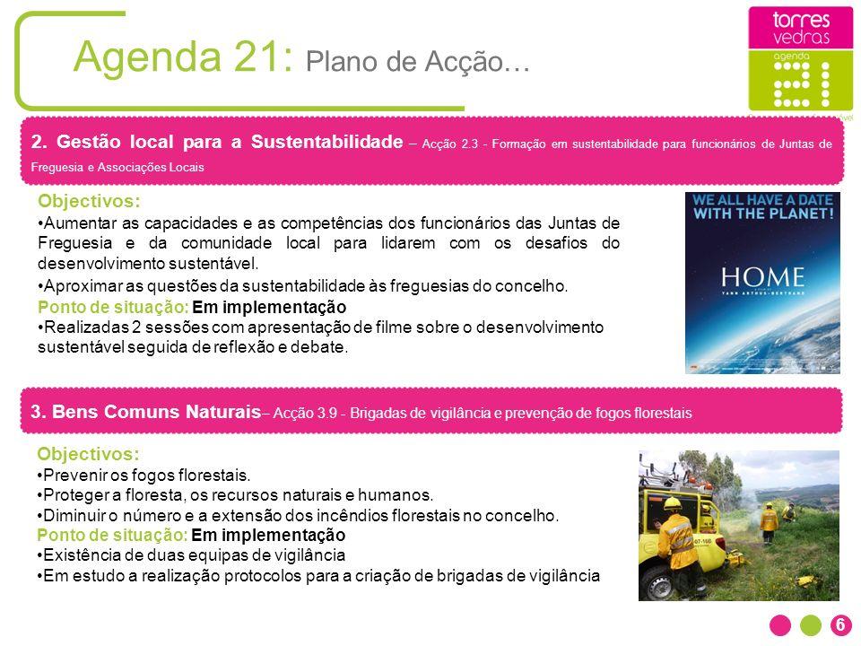6 Agenda 21: Plano de Acção… 2. Gestão local para a Sustentabilidade – Acção 2.3 - Formação em sustentabilidade para funcionários de Juntas de Fregues