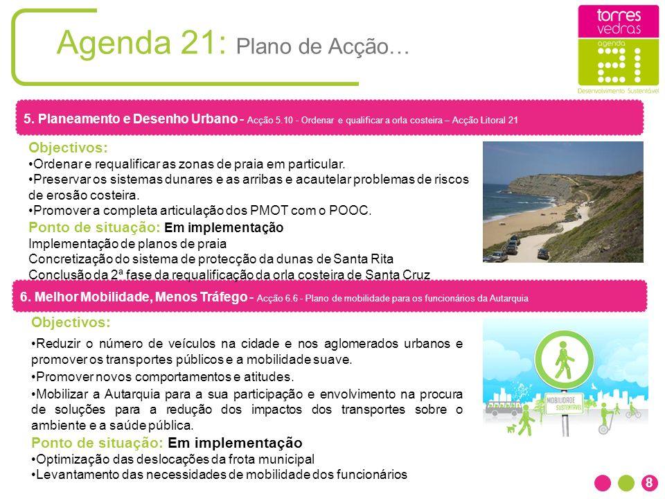 Agenda 21: Plano de Acção… 8 6. Melhor Mobilidade, Menos Tráfego - Acção 6.6 - Plano de mobilidade para os funcionários da Autarquia Objectivos: Reduz