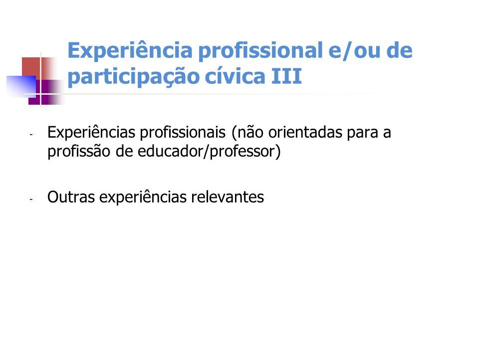 Experiência profissional e/ou de participação cívica III - Experiências profissionais (não orientadas para a profissão de educador/professor) - Outras