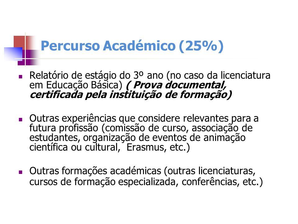 Percurso Académico (25%) Relatório de estágio do 3º ano (no caso da licenciatura em Educação Básica) ( Prova documental, certificada pela instituição