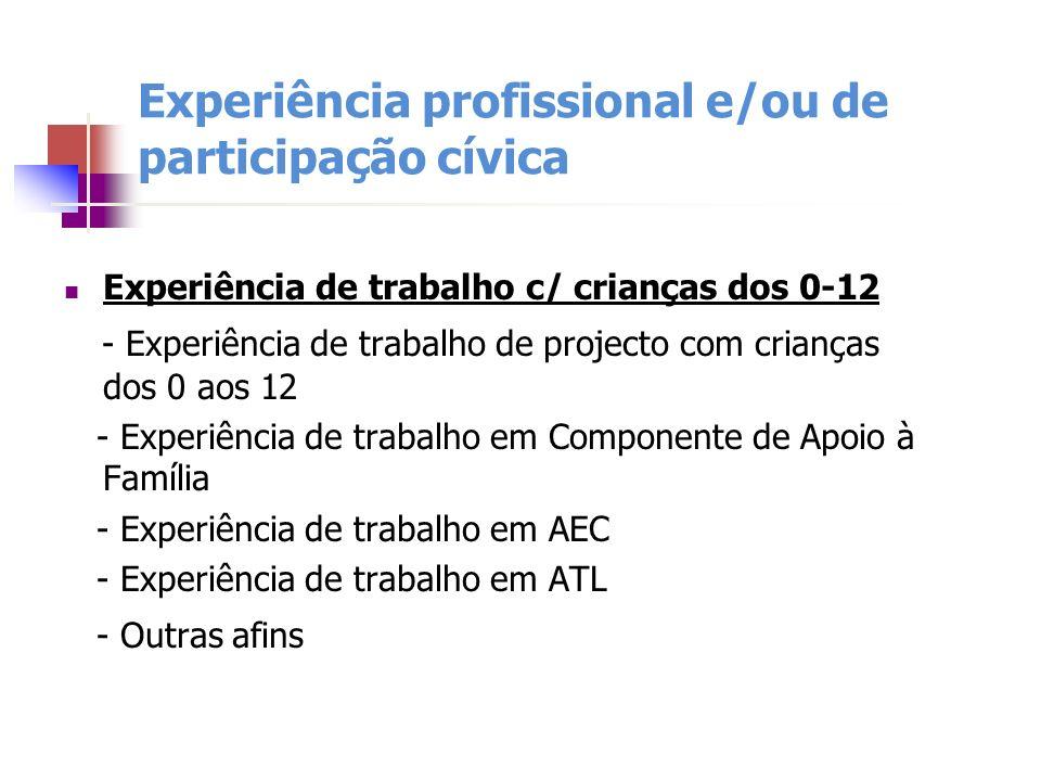 Experiência profissional e/ou de participação cívica Experiência de trabalho c/ crianças dos 0-12 - Experiência de trabalho de projecto com crianças d