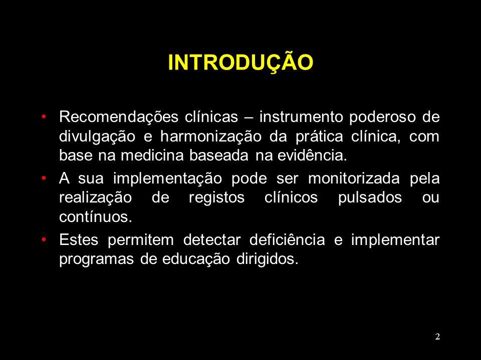 2 INTRODUÇÃO Recomendações clínicas – instrumento poderoso de divulgação e harmonização da prática clínica, com base na medicina baseada na evidência.