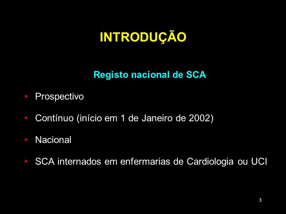 3 INTRODUÇÃO Registo nacional de SCA Prospectivo Contínuo (início em 1 de Janeiro de 2002) Nacional SCA internados em enfermarias de Cardiologia ou UC