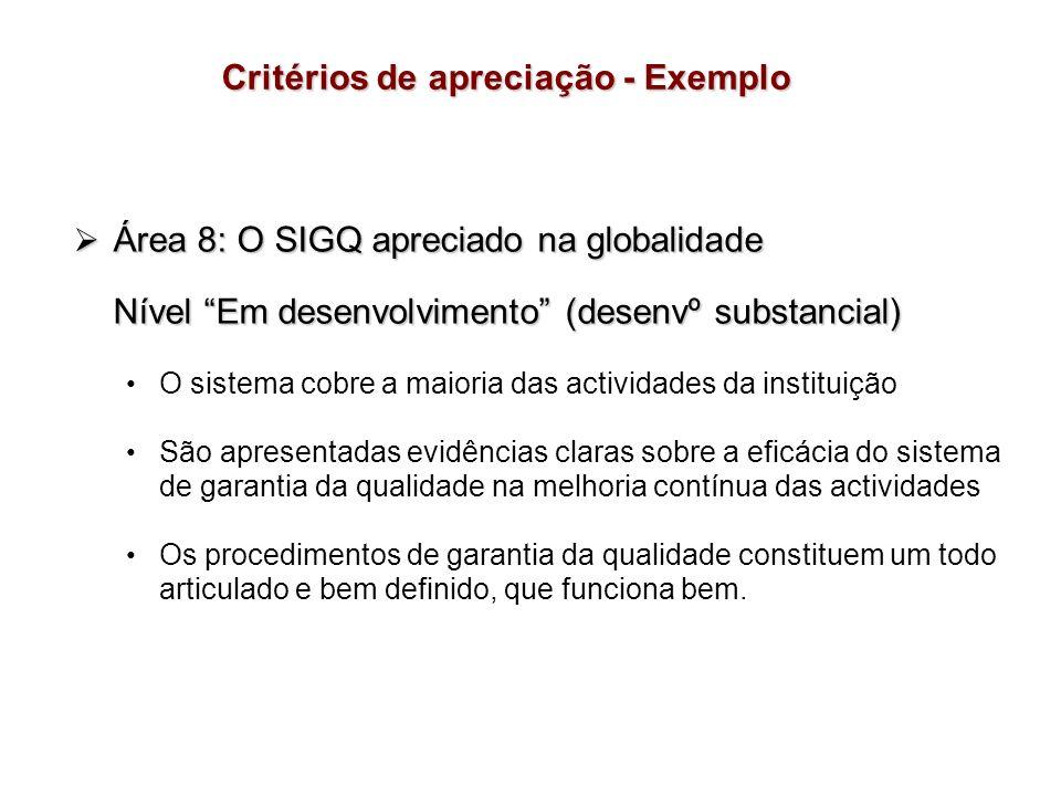 Área 8: O SIGQ apreciado na globalidade Área 8: O SIGQ apreciado na globalidade Nível Em desenvolvimento (desenvº substancial) O sistema cobre a maior