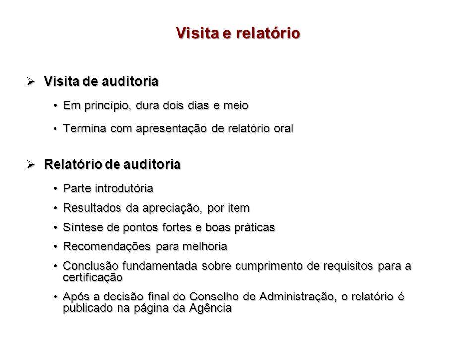 Visita de auditoria Visita de auditoria Em princípio, dura dois dias e meioEm princípio, dura dois dias e meio Termina com apresentação de relatório o