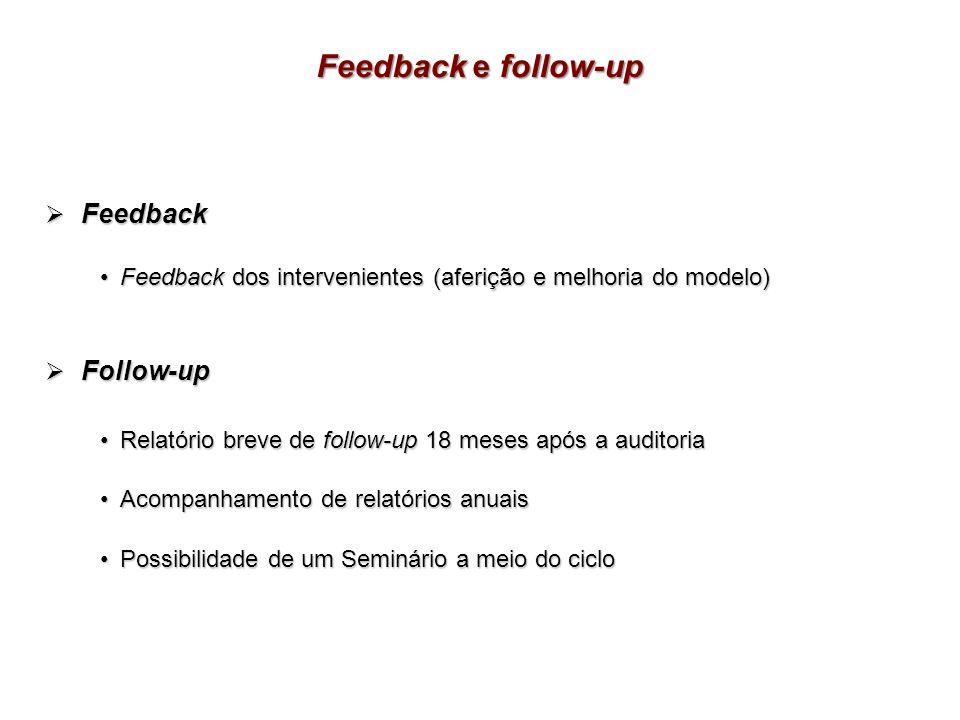 Feedback Feedback Feedback dos intervenientes (aferição e melhoria do modelo) Feedback dos intervenientes (aferição e melhoria do modelo) Follow-up Fo