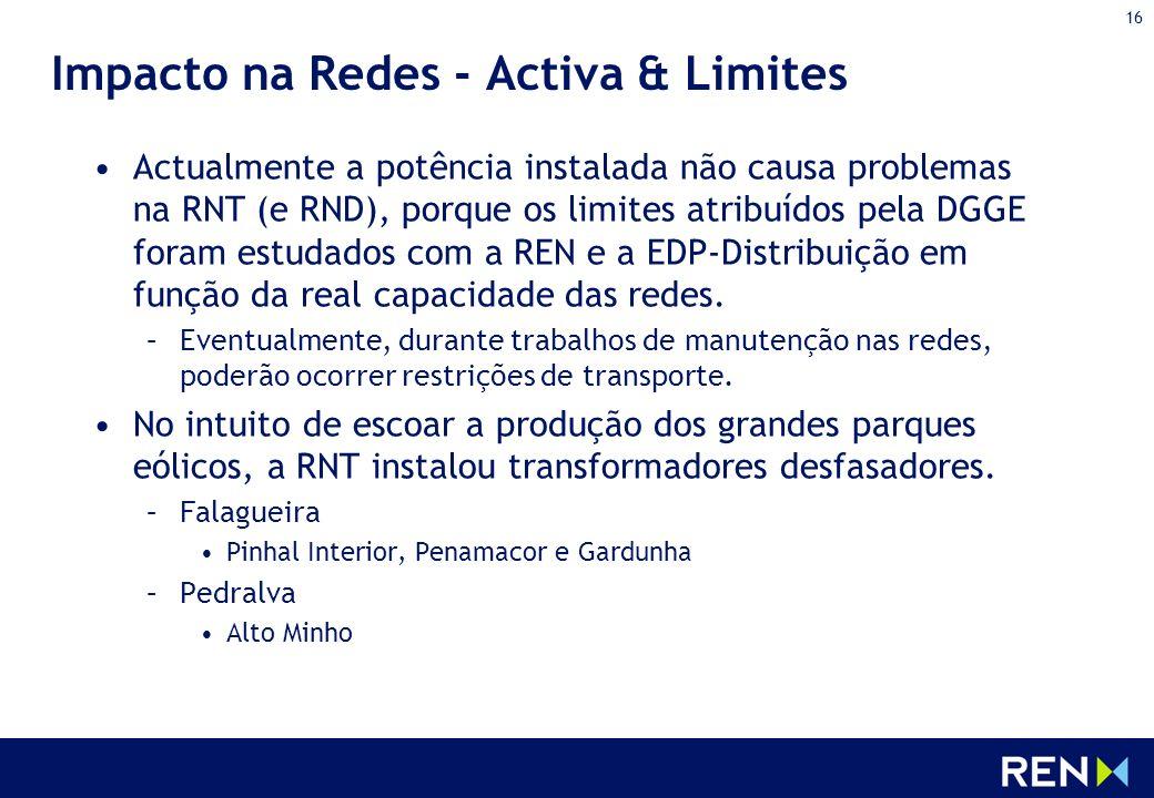 16 Impacto na Redes - Activa & Limites Actualmente a potência instalada não causa problemas na RNT (e RND), porque os limites atribuídos pela DGGE for