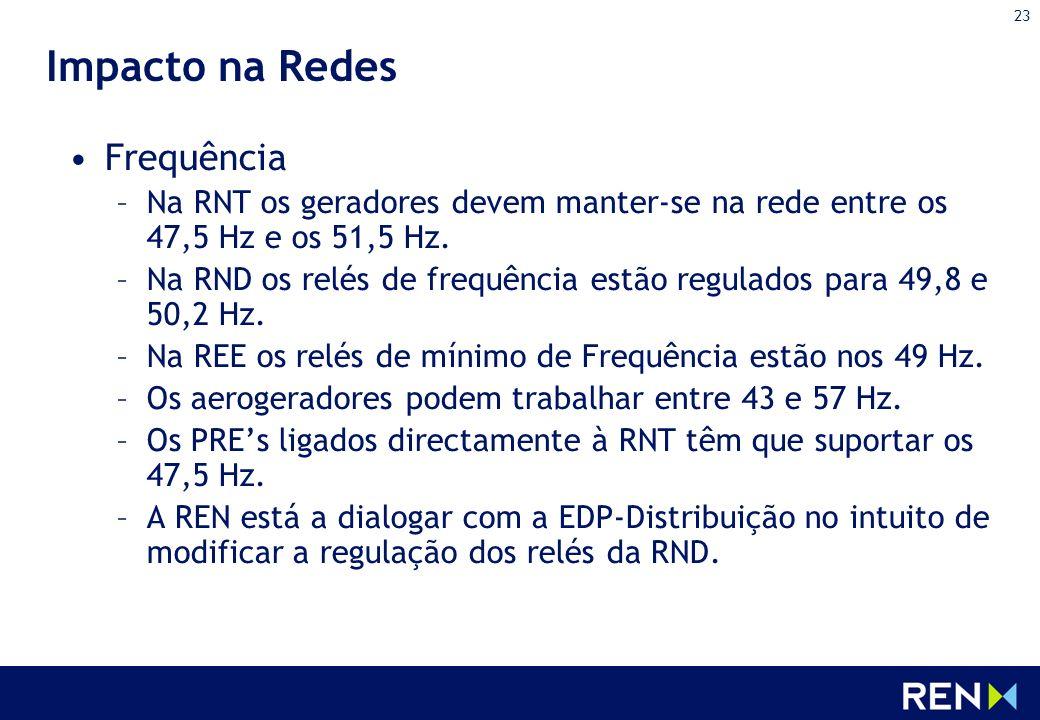 23 Impacto na Redes Frequência –Na RNT os geradores devem manter-se na rede entre os 47,5 Hz e os 51,5 Hz. –Na RND os relés de frequência estão regula